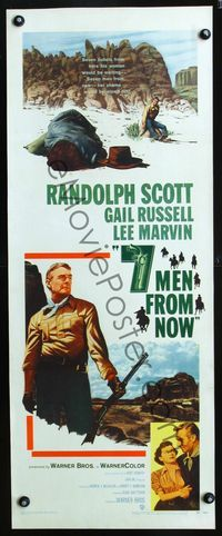 3a026 7 MEN FROM NOW insert '56 great full-length art of Randolph Scott with rifle, Budd Boetticher