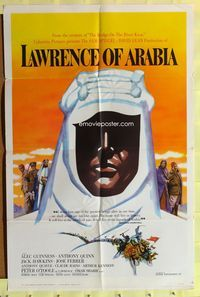 3a002 LAWRENCE OF ARABIA pre-Awards 1sheet '62 David Lean, classic art of Peter O'Toole silhouette!