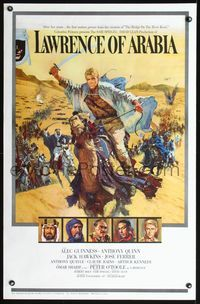 3a001 LAWRENCE OF ARABIA pre-awards style 1sheet '62 David Lean, best art of Peter O'Toole on camel!