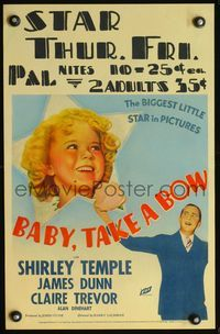 3a061 BABY TAKE A BOW WC '34 great image of Shirley Temple, the biggest little star in pictures!