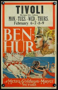 3a062 BEN-HUR WC '25 great close up stone litho art of Ramon Novarro and riding in chariot race!