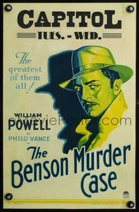 3a063 BENSON MURDER CASE WC '30 great close up head-and-shoulders art of detective William Powell!