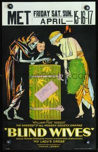 3a064 BLIND WIVES WC '20 wonderful stone litho of woman gambling at dice with Death on dress box!