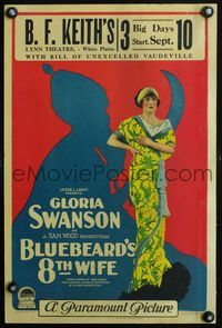 3a065 BLUEBEARD'S 8th WIFE WC '23 great full-length artwork of Gloria Swanson by creepy silhouette!