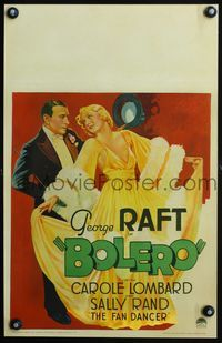 3a066 BOLERO WC '34 fantastic art of George Raft in tuxedo with glamorous sexy Carole Lombard!
