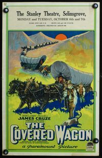 3a068 COVERED WAGON WC '23 James Cruze, cool stone litho of pioneers & wagon train on Oregon Trail!