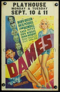 3a069 DAMES WC '34 Ruby Keeler, Dick Powell, Joan Blondell, Busby Berkeley, cool sexy deco art!