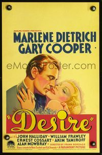 3a070 DESIRE WC '36 best romantic close up art of sexy jewel thief Marlene Dietrich & Gary Cooper!