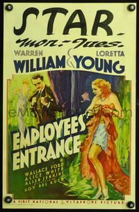 3a072 EMPLOYEES' ENTRANCE WC '33 wonderful art of Warren William & half-dressed sexy Loretta Young!