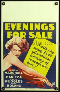 3a073 EVENINGS FOR SALE WC '32 art of beautiful Sari Maritza, who pays money for romance & love!