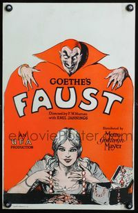 3a074 FAUST WC '26 F.W. Murnau, cool art of Emil Jannings as the Devil enticing sexy Camilla Horn!