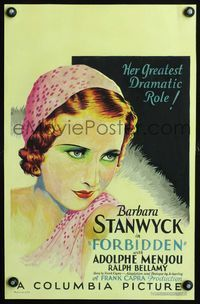 3a075 FORBIDDEN WC '32 wonderful head-and-shoulders art of beautiful Barbara Stanwyck, Frank Capra
