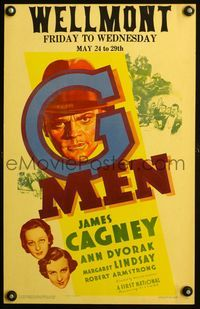 3a079 G-MEN window card poster '35 cool artwork of James Cagney, plus Ann Dvorak & Margaret Lindsay!