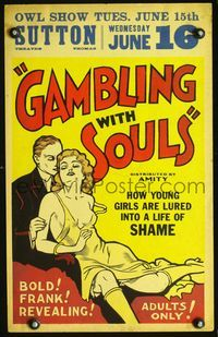 3a043 GAMBLING WITH SOULS WC '36 how young young girls are lured into a life of shame, sexiest art!