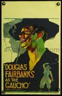 3a077 GAUCHO WC '27 incredible colorful close up art of suave smoking outlaw Douglas Fairbanks!
