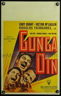 3a080 GUNGA DIN WC '39 great headshots of Cary Grant, Douglas Fairbanks Jr. & Victor McLaglen!