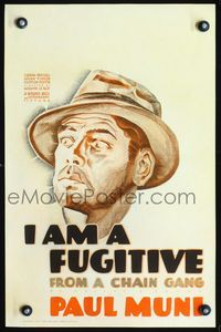 3a082 I AM A FUGITIVE FROM A CHAIN GANG WC '32 great close up art of escaped convict Paul Muni!