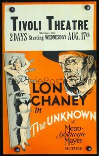 3a108 UNKNOWN WC '27 great art of knife thrower Lon Chaney with sexy assistant Joan Crawford!