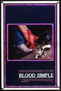 3u071 BLOOD SIMPLE one-sheet movie poster '85 Dead in the heart of Texas, Coen Brothers film noir!