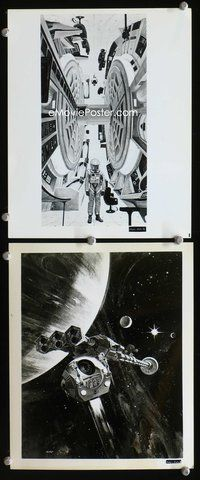 3y245 2001: A SPACE ODYSSEY 2 8x10 stills '68 great movie stills of rotating set, concept art!