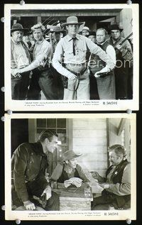 3y253 ABILENE TOWN 2 8x10s R50 cool image of cowboy Randolph Scott, Edgar Buchanan, Lloyd Bridges!