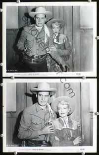 3y255 ACROSS THE BADLANDS 2 8x10s '50 great images of rugged Charles Starrett & pretty Helen Mowery!