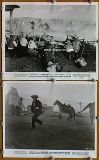 3y275 APACHE GOLD 2 8x10 stills '63 Lex Barker, great action images of indian attack on cowboys!