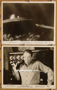 3y278 ATOMIC SUBMARINE 2 8x10 movie stills '59 crazy man w/gun & cool underwater sub and UFO image!