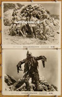 3y297 BEACH GIRLS & THE MONSTER 2 8x10s '65 great images of cheesy monster and babes in bikinis!