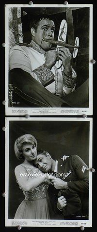 3y303 BEDTIME STORY 2 8x10 stills '64 wacky image of Marlon Brando w/model airplane, Shirley Jones!