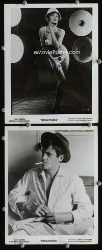 3y334 BREATHLESS 2 8x10s '61 A Bout de Souffle, cool images of Jean Seberg, Jean-Paul Belmondo!