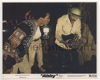 3y010 ABBY color 8x10 movie still #3 '74 William Marshall examines weird piece of wood in cave!