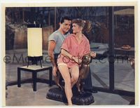 3y013 ATHENA color 7.75x10 movie still '54 pretty nature girl Jane Powell sits with Vic Damone!