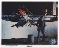3y015 BADGE 373 color 8x10 still #4 '73 gangster with machine gun stands by dead bodies on ship!