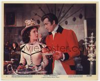 3y018 BEAU BRUMMELL Eng/US color 8x10 #2 '54 close up of Elizabeth Taylor & Stewart Granger eating!