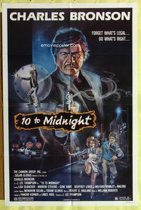 3z002 10 TO MIDNIGHT 1sheet '83 cool action art of detective Charles Bronson, forget what's legal!