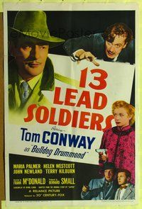 3z003 13 LEAD SOLDIERS 1sh '48 Tom Conway as detective Bulldog Drummond, Maria Palmer pointing gun!