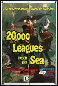 3z007 20,000 LEAGUES UNDER THE SEA 1sheet R71 Jules Verne classic, wonderful art of deep sea divers!