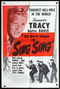 3z008 20,000 YEARS IN SING SING one-sheet R56 Spencer Tracy in the toughest Hell-hole in the world!