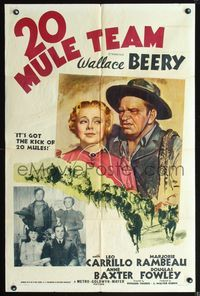 3z006 20 MULE TEAM style C one-sheet '40 cool artwork of scowling Wallace Beery & Marjorie Rambeau!