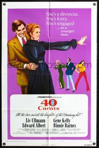 3z012 40 CARATS style B one-sheet '73 cool image of Liv Ullmann being embraced by Edward Albert!