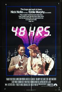 3z013 48 HRS. one-sheet movie poster '82 Nick Nolte, Eddie Murphy police detective crime comedy!
