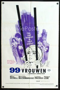 3z018 99 WOMEN one-sheet movie poster '69 Jess Franco, they're behind bars without men, sexy art!