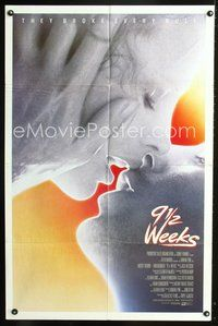 3z015 9 1/2 WEEKS int'l one-sheet '86 Mickey Rourke, Kim Basinger, sexiest close up kissing image!