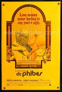 3z019 ABOMINABLE DR. PHIBES 1sh '71 Vincent Price says love means never having to say you're ugly!