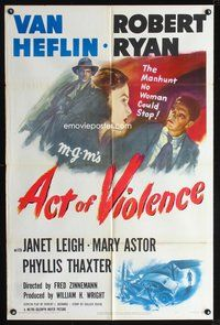 3z021 ACT OF VIOLENCE one-sheet '49 Fred Zinnemann, art of Janet Leigh, Van Heflin & Robert Ryan!