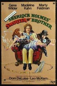 3z023 ADVENTURE OF SHERLOCK HOLMES' SMARTER BROTHER 1sh '75 art of Wilder, Kahn & Feldman by Alvin!