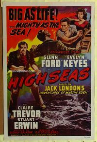 3z024 ADVENTURES OF MARTIN EDEN one-sheet R48 great art of Glenn Ford & Evelyn Keyes, High Seas!