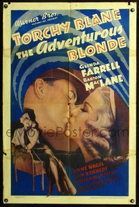3z025 ADVENTUROUS BLONDE one-sheet movie poster '37 sexy Glenda Farrell is Torchy Blane!