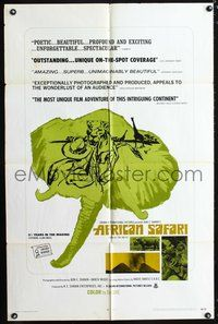 3z027 AFRICAN SAFARI one-sheet poster '70 jungle documentary, cool images of deadly wild animals!